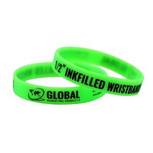 "Debossed Ink Filled 1/2"" Silicone Wristbands"
